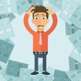 Uomo d'affari con il mucchio di carta, concetto di affari Problemi ettichettanti reali Concetto di termine piano royalty illustrazione gratis