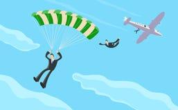 Uomo d'affari con il paracadute Fotografie Stock Libere da Diritti