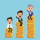 Uomo d'affari con il piano dei soldi di pensionamento Immagini Stock Libere da Diritti