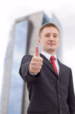 Uomo d'affari con il pollice in su Fotografia Stock Libera da Diritti
