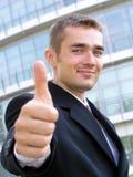 Uomo d'affari con il pollice in su Fotografie Stock Libere da Diritti