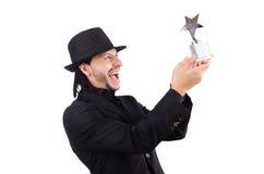 Uomo d'affari con il premio della stella Immagine Stock