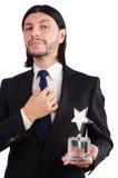 Uomo d'affari con il premio della stella isolato Immagine Stock