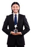 Uomo d'affari con il premio della stella isolato Fotografie Stock Libere da Diritti