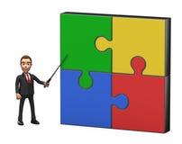 Uomo d'affari con il puntatore al grande puzzle Immagine Stock Libera da Diritti