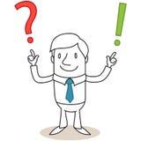 Uomo d'affari con il punto interrogativo e l'esclamazione marzo illustrazione vettoriale