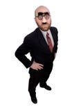 Uomo d'affari con il radiatore anteriore e i glas Fotografia Stock Libera da Diritti