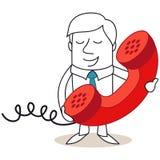 Uomo d'affari con il ricevitore telefonico enorme illustrazione di stock