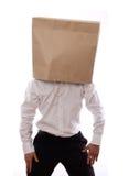 Uomo d'affari con il sacco di carta in testa Immagini Stock Libere da Diritti