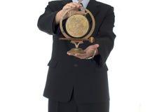 Uomo d'affari con il segnalatore acustico Fotografia Stock