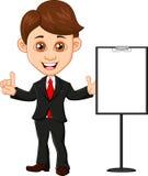 Uomo d'affari con il segno in bianco Immagine Stock