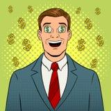 Uomo d'affari con il simbolo di dollaro in Pop art degli occhi Fotografia Stock