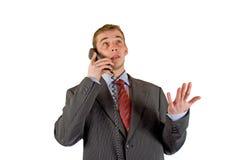 Uomo d'affari con il telefono Immagine Stock Libera da Diritti