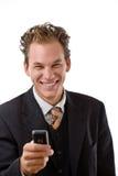 Uomo d'affari con il telefono mobile Fotografia Stock