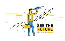 Uomo d'affari con il telescopio che guarda al futuro Immagine Stock