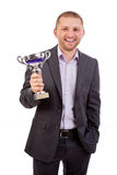 Uomo d'affari con il trofeo Fotografia Stock