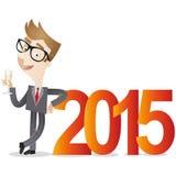 Uomo d'affari 2015 con il vetro del champagne royalty illustrazione gratis