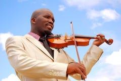 Uomo d'affari con il violino Fotografia Stock Libera da Diritti