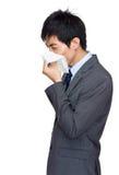 Uomo d'affari con l'allergia del naso Fotografie Stock Libere da Diritti