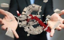 Uomo d'affari con l'esplosione della rappresentazione euro di valuta 3D Immagine Stock Libera da Diritti