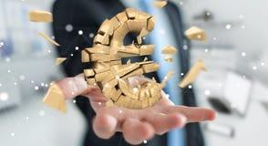 Uomo d'affari con l'esplosione della rappresentazione euro di valuta 3D Fotografie Stock Libere da Diritti