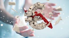 Uomo d'affari con l'esplosione della rappresentazione euro di valuta 3D Fotografia Stock Libera da Diritti