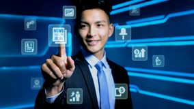 Uomo d'affari con l'icona Immagini Stock Libere da Diritti