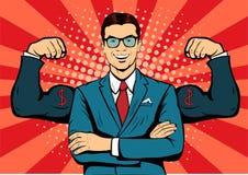Uomo d'affari con l'illustrazione di Pop art dei muscoli Immagine Stock