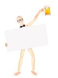 Uomo d'affari con l'insegna e la birra Fotografie Stock