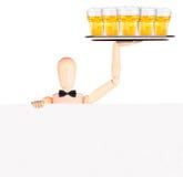 Uomo d'affari con l'insegna e la birra Fotografia Stock Libera da Diritti