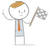 Uomo d'affari con la bandiera Fotografia Stock