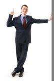Uomo d'affari con la barretta in su. Attenzione del segno Immagini Stock Libere da Diritti
