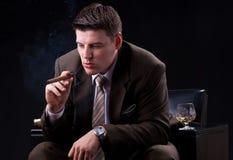 Uomo d'affari con la bevanda e un sigaro Immagini Stock