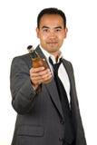 Uomo d'affari con la bottiglia da birra Immagine Stock