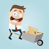 Uomo d'affari con la carriola di soldi Immagine Stock