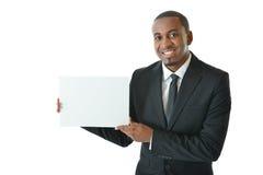 Uomo d'affari con la carta in bianco Fotografia Stock Libera da Diritti