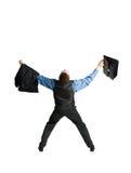 Uomo d'affari con la cartella che spande fuori le sue braccia Fotografia Stock