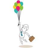 Uomo d'affari con la cartella ed i palloni illustrazione di stock