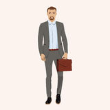 Uomo d'affari con la cartella Illustrazione di vettore Illustrazione di Stock