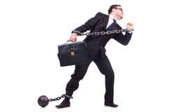 Uomo d'affari con la catena isolata Immagini Stock Libere da Diritti