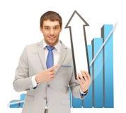 Uomo d'affari con la freccia ed il grafico 3d Fotografia Stock