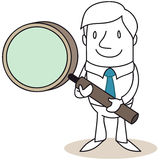 Uomo d'affari con la lente d'ingrandimento illustrazione vettoriale