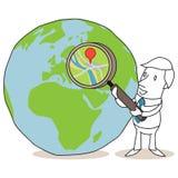 Uomo d'affari con la lente d'ingrandimento ed il globo illustrazione di stock