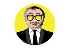 Uomo d'affari con la moneta ed il lingotto di oro visibili di vetro Immagini Stock