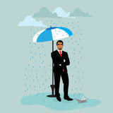 Uomo d'affari con la nave di carta sotto l'ombrello durante la pioggia, illustrazione di vettore nella progettazione piana per i  Fotografia Stock