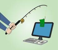 Uomo d'affari con la pesca del concetto dei soldi Fotografia Stock Libera da Diritti