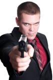 Uomo d'affari con la pistola Fotografia Stock Libera da Diritti