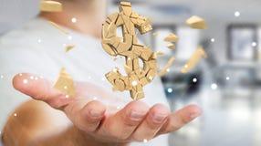 Uomo d'affari con la rappresentazione d'esplosione di valuta 3D del dollaro Immagine Stock
