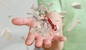 Uomo d'affari con la rappresentazione d'esplosione di valuta 3D del dollaro Immagini Stock