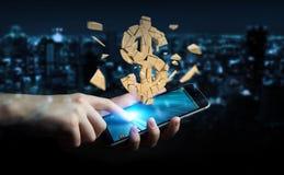 Uomo d'affari con la rappresentazione d'esplosione di valuta 3D del dollaro Fotografia Stock Libera da Diritti
